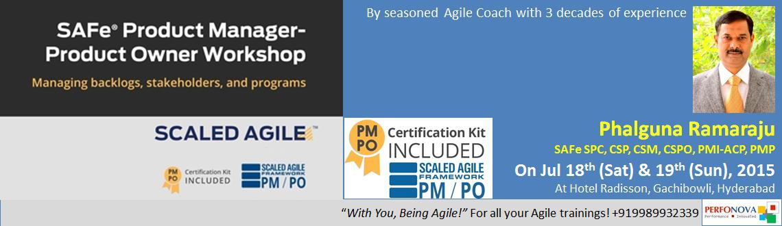 Book Online Tickets for SAFe Product Manager - Product Owner wor, Hyderabad. SAFe Product Manager / Product Owner (PM / PO) Certification Workshop  By  Phalguna Ramaraju, SAFe SPC, CSP, CSPO, CSM, PMI-ACP, PMP  Phalguna Ramaraju is a consulting Agile Coach with over 27 years of experience in the