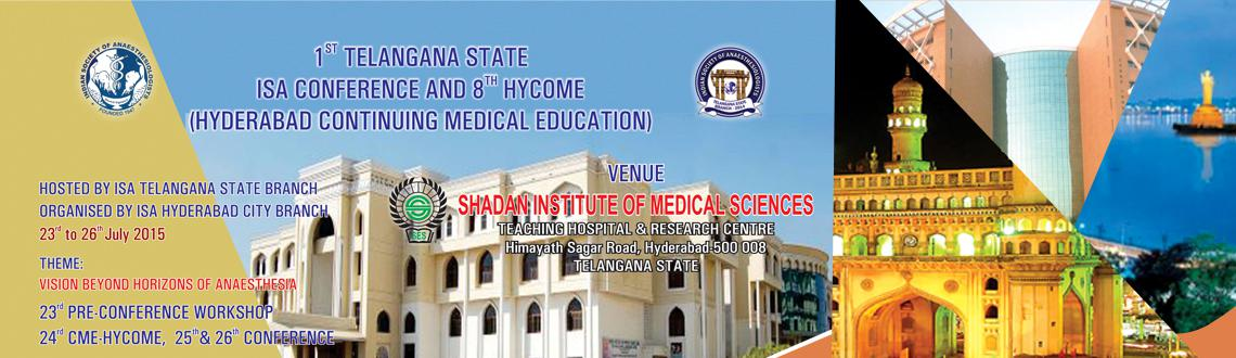 Book Online Tickets for TISACON 2015, Hyderabad. Invite you to the prestigious 1st state conference of the newly formed telangana state.The 1st Telangana state ISA conference and 8th Hycome [ Hyderabad Continuing Medical Education ] hosted by ISA Telangana State Branch organised by ISA hyderabad ci