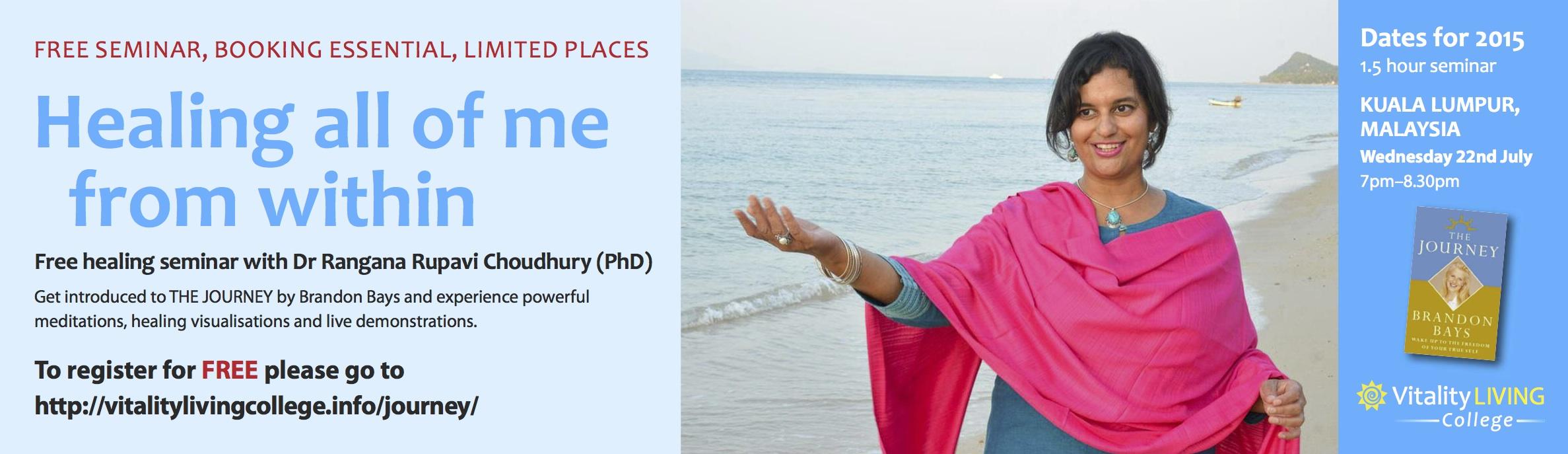 Free Healing Seminar KUALA LUMPUR with Dr Rangana Rupavi Choudhuri (PhD) Copy