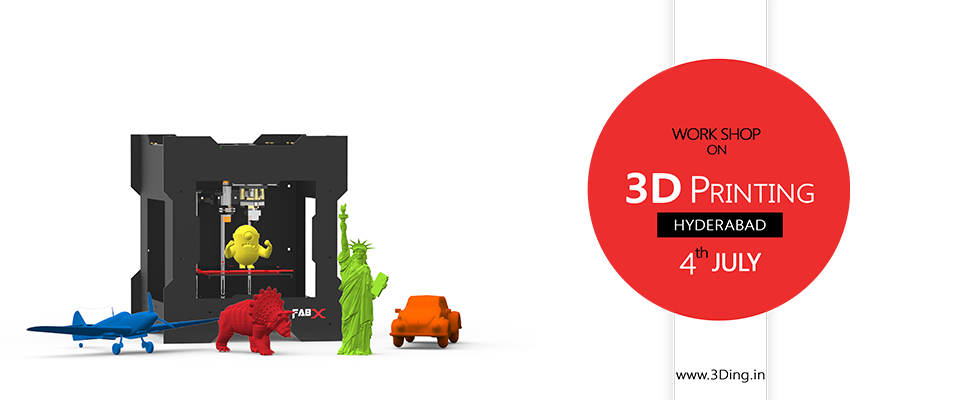 Book Online Tickets for 3D Printing Workshop, Hyderabad. Overview:3D Printing is one of the next big things. Of late, there\\\'s a speculation that 3D Printers would be part of the everyday life in the near future. We at 3Ding are preparing the world for such an upcoming future. This 1-day workshop is all