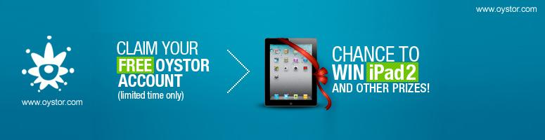 Oystor Free Contest get register now and win iPad 2