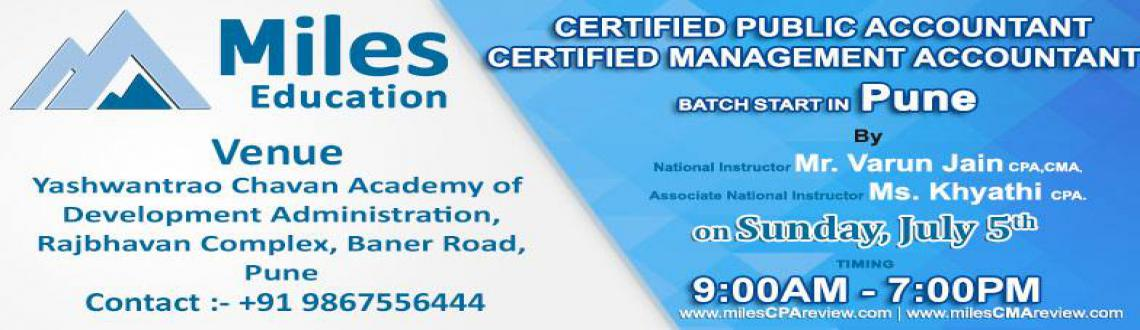 Book Online Tickets for CPA / CMA Batch Starts in Pune, Pune. CPA / CMA Batch Starts in PuneBy National Instructor Mr. Varun Jain CPA,CMA.Associate National Instructor Ms. Khyati CPA.www.milescpareview.com / www.milescma.comContact: +91 9867556444