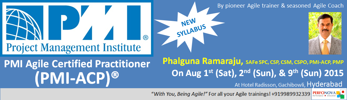 Book Online Tickets for PMI Agile (PMI-ACP) workshop in Agile Pr, Hyderabad. We are Unique!
