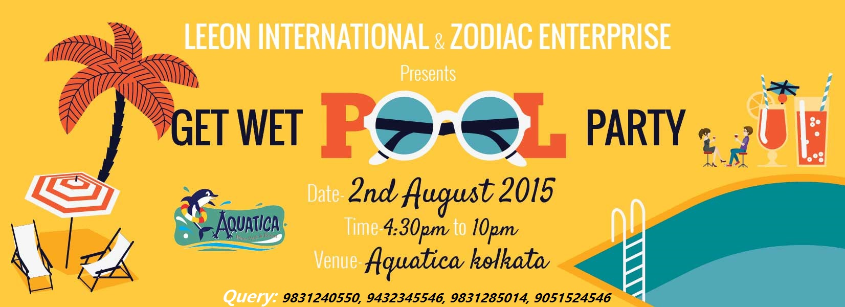 Book Online Tickets for GET WET POOL PARTY, Kolkata. Leeon International Management present GET WET POOL PARTY on 2nd August 2015 Friendship Day at Aquatica Kolkata, India. Party will be start at 4:30 pm - 10:00 pm.Fun water DJs dance liquer every thing will be there. Please join us and