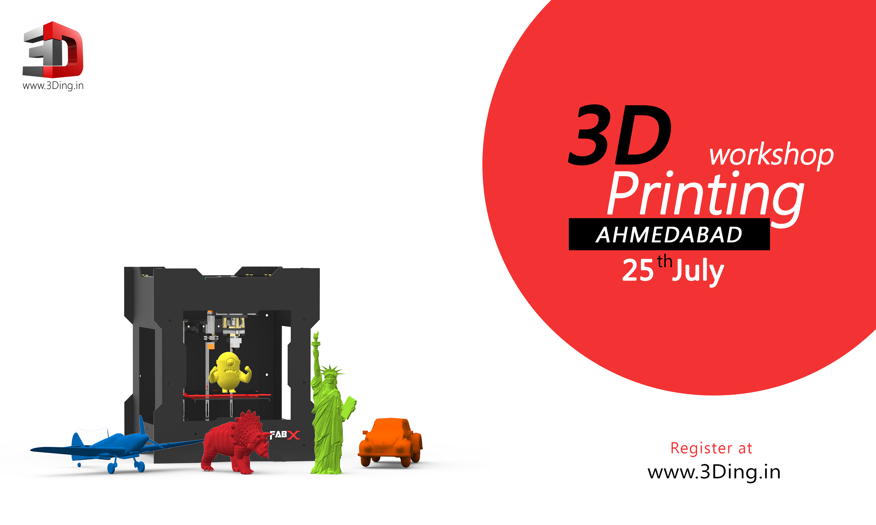 Book Online Tickets for 3D Printing Workshop Ahmedabad, Ahmedabad. Overview:3D Printing is one of the next big things. Of late, there\\\'s a speculation that 3D Printers would be part of the everyday life in the near future. We at 3Ding are preparing the world for such an upcoming future. This 1-day workshop is all