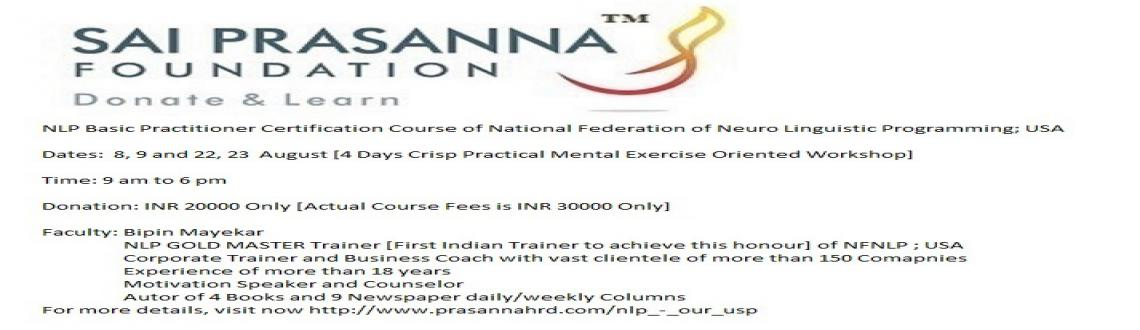 Book Online Tickets for NLP Basic Practitioner Certification Cou, Mumbai.  