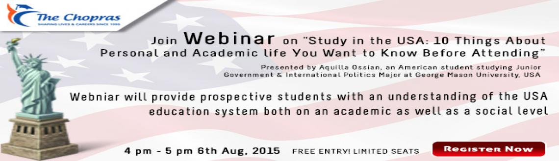 The Chopras Webinar on Study in the USA  Register NOW