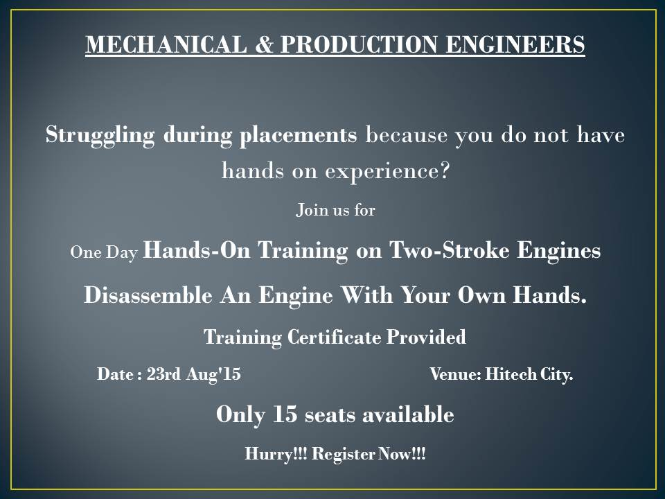2-Stroke Engine and Gearbox Hands On Workshop for Engineering Students