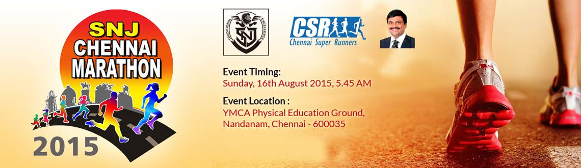 "Book Online Tickets for SNJ Chennai Half Marathon, Chennai. SNJ Chennai Half Marathon Run of the most philanthropic marathon courses taking in some of Chennai's most spectacular and historic landmarks including the RajBhavan, Anna University and Adyar Bridge. Start at YMCA ""A"" Ground, travel"