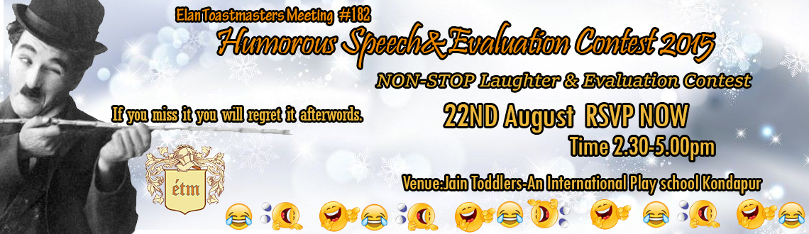 Humorous Speech and Evaluation Contest 2015 - Elan Toastmasters