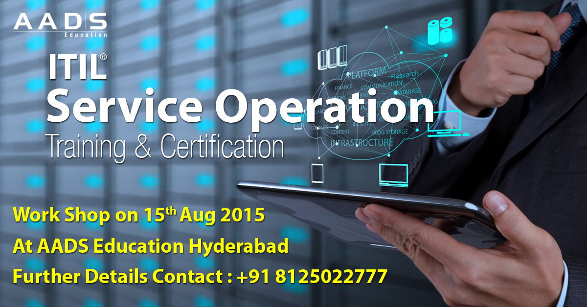 Book Online Tickets for ITIL SO Training at AADS for Technical S, Hyderabad. Become ITIL SO Professional. Batch Starting in August at Hyderabad. Accredited Training & Globally Accepted Certificate. ITIL SO Training and certification Examination, Project and Certification Program. Two Days of classroom ITIL® SO Trainin