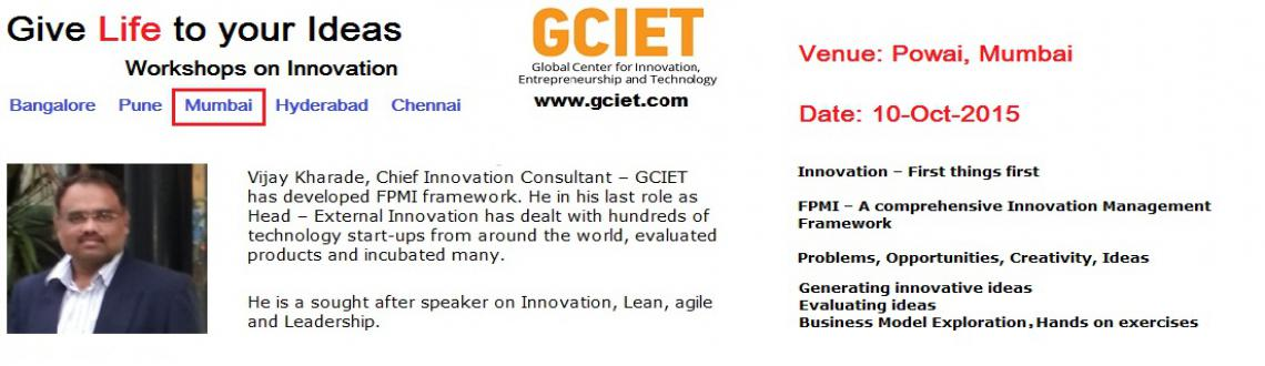 Innovation Management Workshop by GCIET