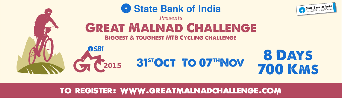 Book Online Tickets for SBI-Great Malnad Challenge, Madikeri. SBI Great Malnad Challenge is an MTB bicycle challenge which is into its 6th edition this year. SBI-GMC had a very modest beginning in 2010 with only 22 over zealous cyclists. We have come a long way since, what started off as a competitive yet