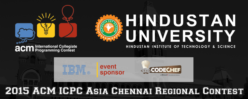 Book Online Tickets for ACM ICPC - Asia Chennai Regional Program, Chennai. The ACM ICPC - ASIA CHENNAI REGIONALS Programming Contest 2015 is finally here!