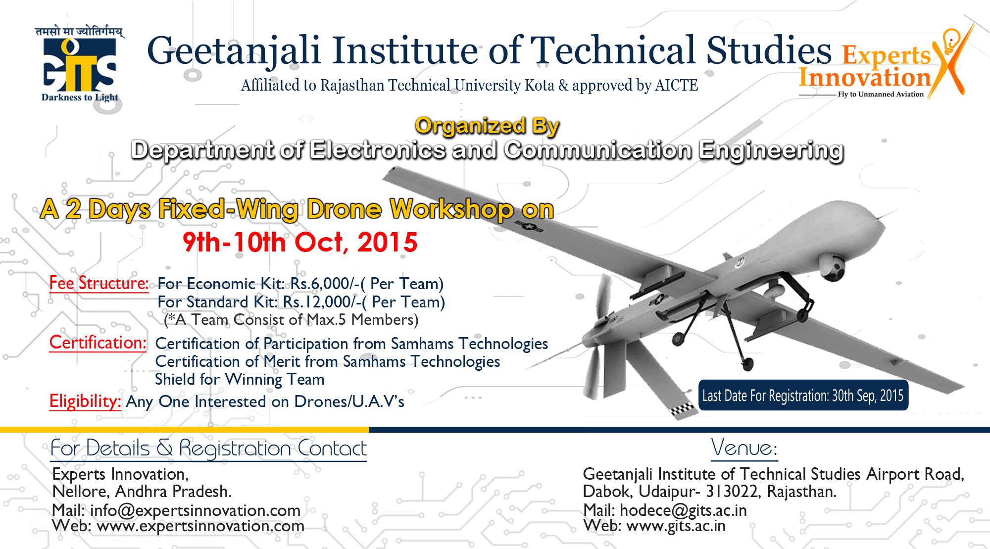 Book Online Tickets for  fixed wing drone workshop, Ashok Naga. This workshop is designed to provide a practical introduction to most modern unmanned aircraft development fundamentals.