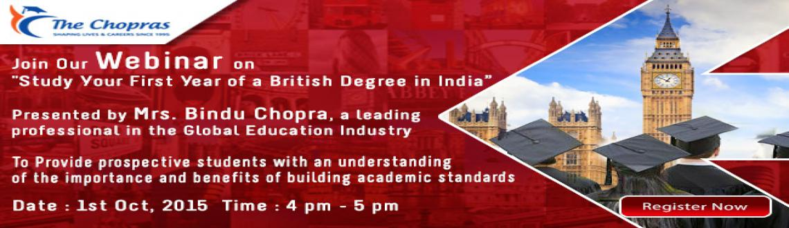 The Chopras Webinar to Study 1st Year of UK Degree in India