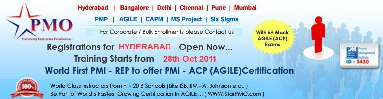 First time in Asia Introducing - PMI Agile Certified Practitioner (PMI-ACP)SM in Hyderabad on 28th Oct 2011