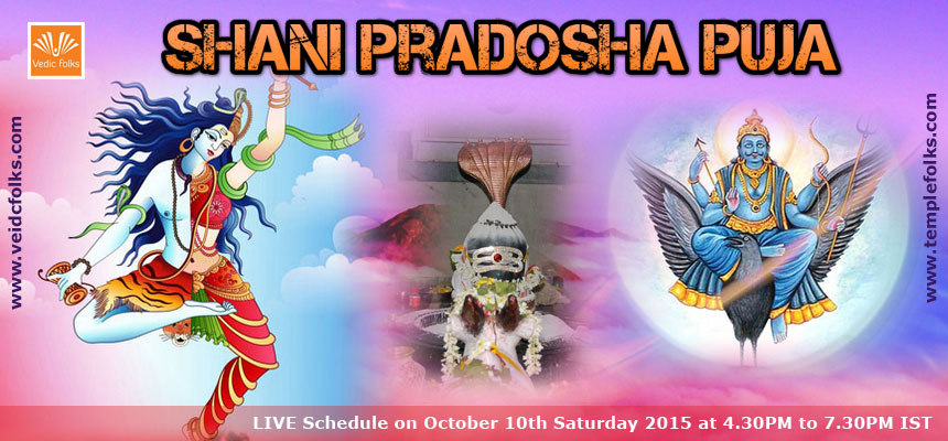 Shani Pradosha Special Puja and Homam : LIVE Schedule on October 10th Saturday 2015 at 4.30PM to 7.30PM IST.
