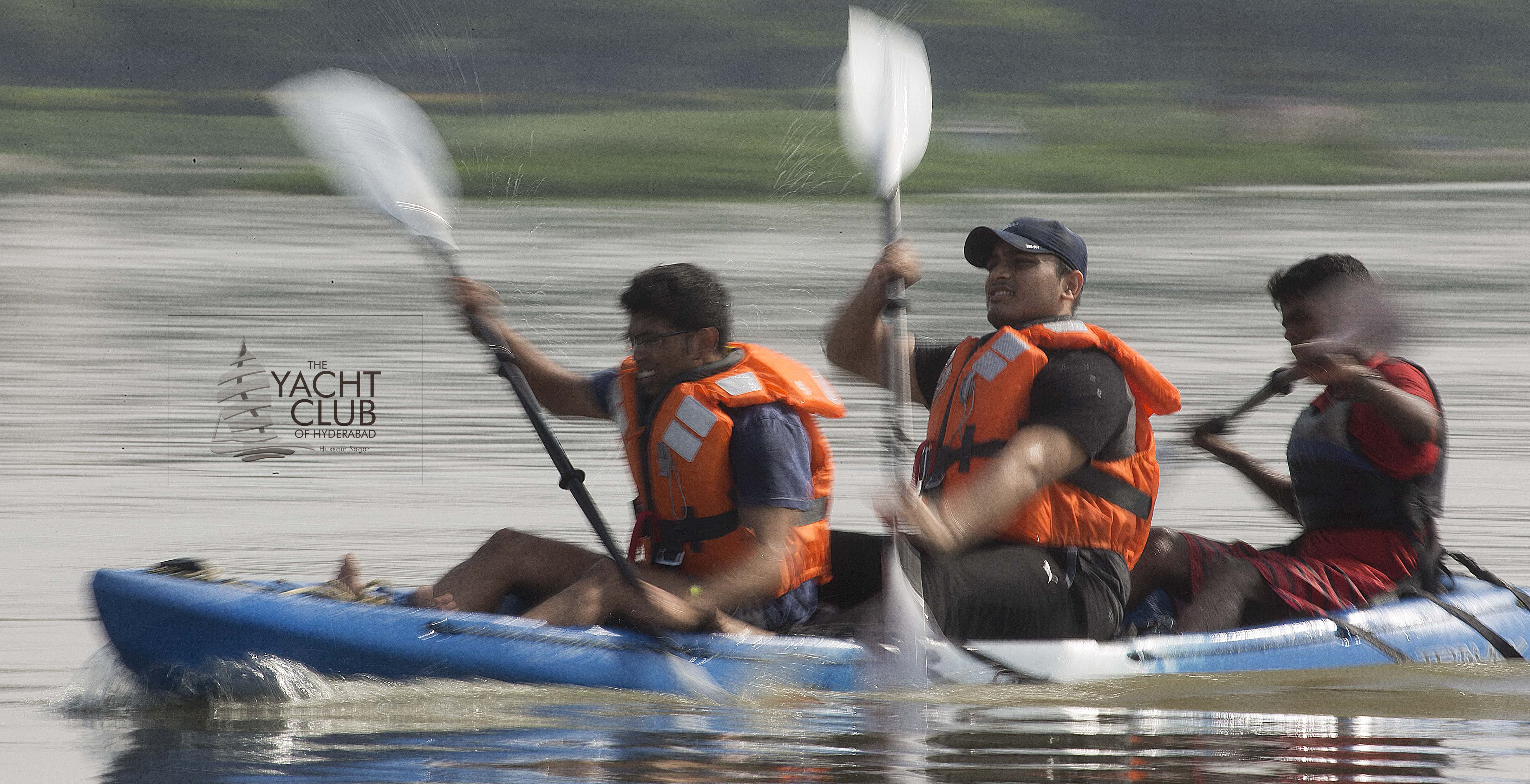 Book Online Tickets for FunKayaking, Secunderab. A blast of Flat Water Kayaking that teaches you to steer a Kayak the fun way and also enjoy some competitive racing (for the 7:15 session only) on a stable three person sit on top Kayak.  Introduce yourself to an adventure water sport the fun
