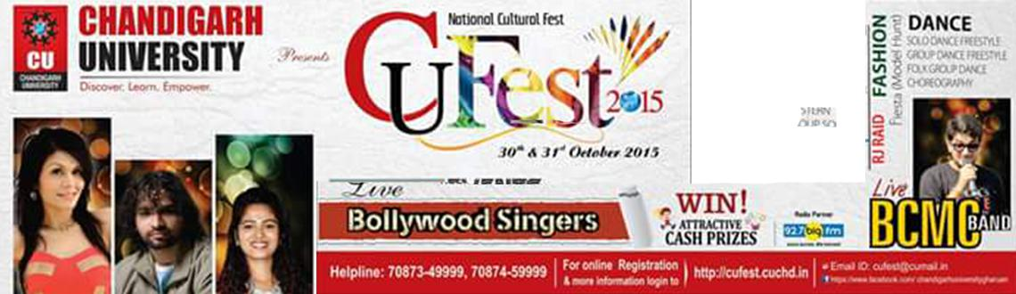 Book Online Tickets for Chandigarh University National Cultural , Mohali. CU Cultural Fest is back with a bang from 30th October to 31st October 2015. A perfect stage for talent, brilliance and intelligence, this is the roller coaster every techie dreams of. One of the most successful cultural fests across the country, CU