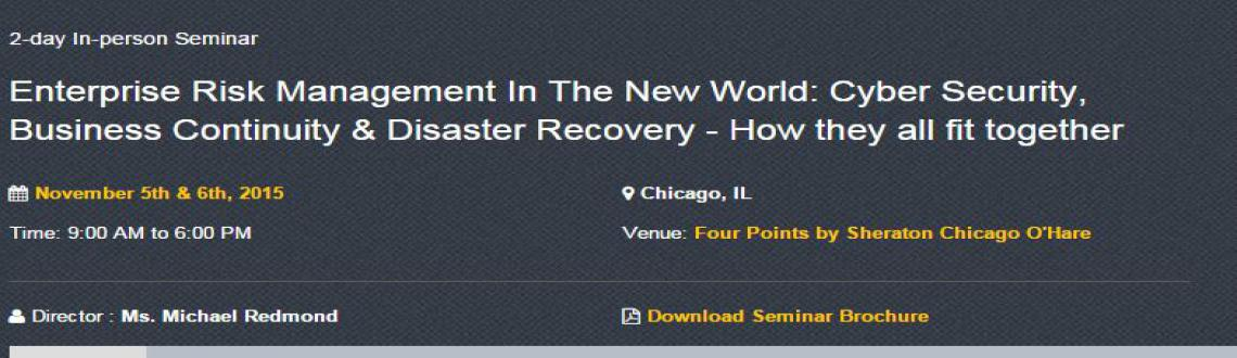 Seminar on Enterprise Risk Management in the New World: Cyber Security, Business Continuity  Disaster Recovery - How they all fit together - Chicago, IL