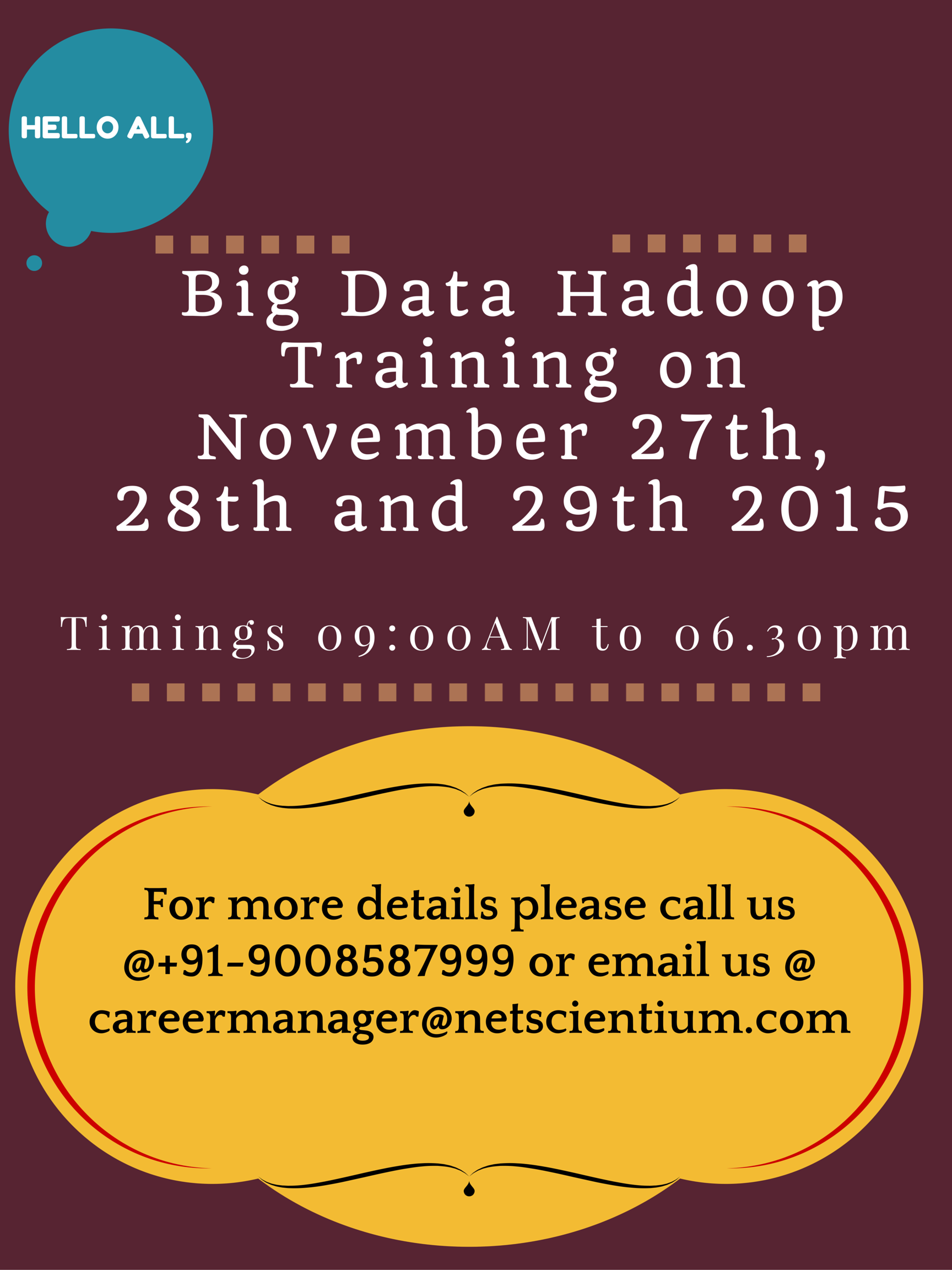 Big Data Hadoop Training at Bangalore ( Classroom and Online)