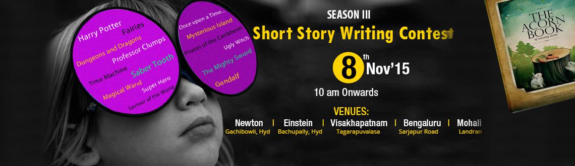 Book Online Tickets for Short Story Writing Contest Season-III, Hyderabad. Oakridge International School in association with Just Books will organize a short story writing contest on November 8. The contest is open for boys and girls below 6 years,7-10 years and 11-16 years where they can pen down their own stories. Th
