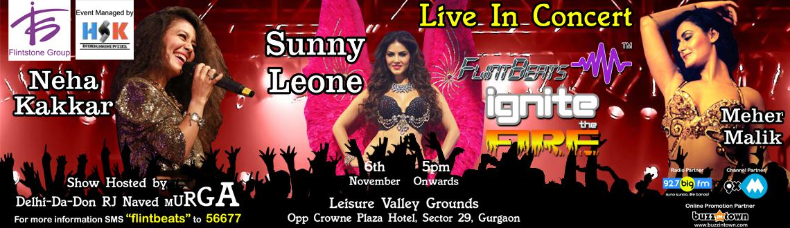 Book Online Tickets for Flinbeats Ignite the Fire, Gurugram. Flintbeats ignite the Fire featuring Sunny Leone, Neha Kakkar, Meher Malik and RJ Naved at Leisure Valley Ground, Gurgaon on 6th November will be a two and a half hours of nonstop fun. Sunny Leone and Meher Malik\\\'s dance numbers will get