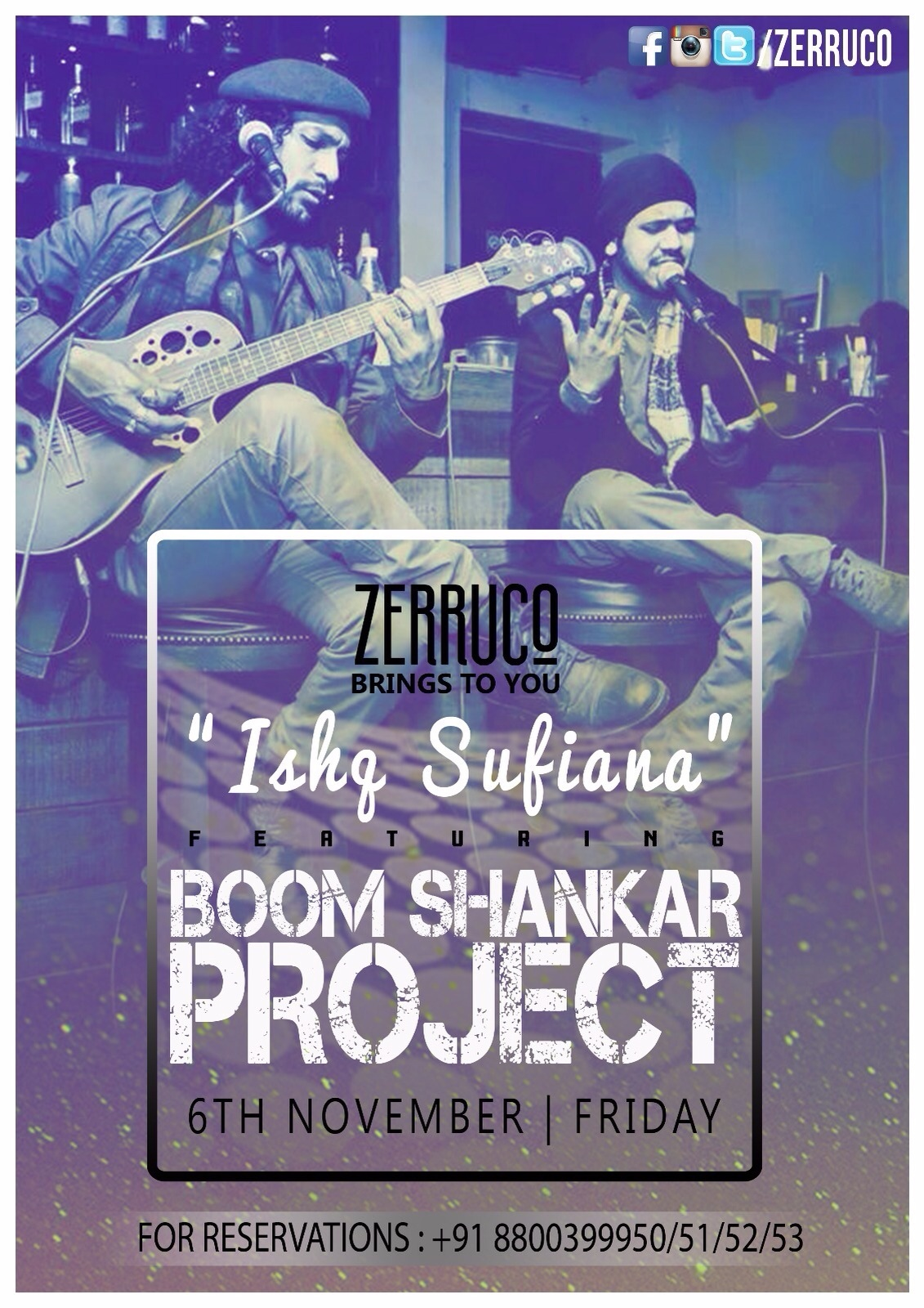 Ishq Sufiana featuring BOOM SHANKAR PROJECT @ Zerruco | 6th Nov | 9pm onwards