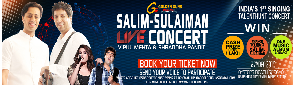 Book Online Tickets for Salim-Sulaiman Live in New Year Concert , Gurugram. Golden Guns Entertainment presents