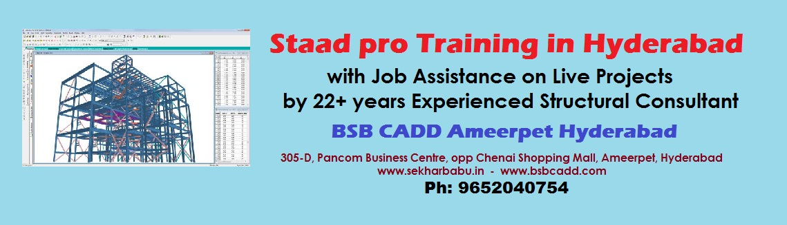 Book Online Tickets for Staad pro Training in Hyderabad with Job, Hyderabad. STAAD Pro training in Hyderabad with Job Assistance on Live Projects by 22+ years Experienced Structural Consultant