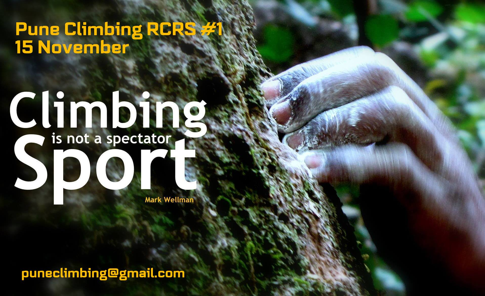 Book Online Tickets for Pune Climbing RCRS 1 - 15 November, Pune. Pune Climbing - Rock Climbing & Rappelling Session #1( RCRS = Rock Climbing & Rappelling Session )Date : 15 NovemberTime : 6.45AM to 10.30AMPlace : TaljaiAge Group - 8 years & AboveTime to Get closer to the ROCKS of Sahyadri\\\'s & Le