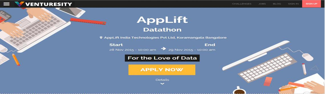 Book Online Tickets for AppLift- DATATHON, Bengaluru. Applift is inviting data engineers for its mobile marketing platforms. Their clients include 500+ leading global advertisers across all verticals, such as King, Zynga, OLX, Glu Mobile, Myntra, Paltalk, Nexon, and Tap4Fun.   Apply here: http://ww