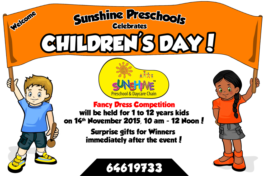 Book Online Tickets for Childrens Day Celebrations @ Sunshine Pr, Hyderabad. We are pleased to share that the Children\\'s Day Celebrations will be held on 14th November 2015 at Sunshine Preschools from 10.00am to 12.00 noon.