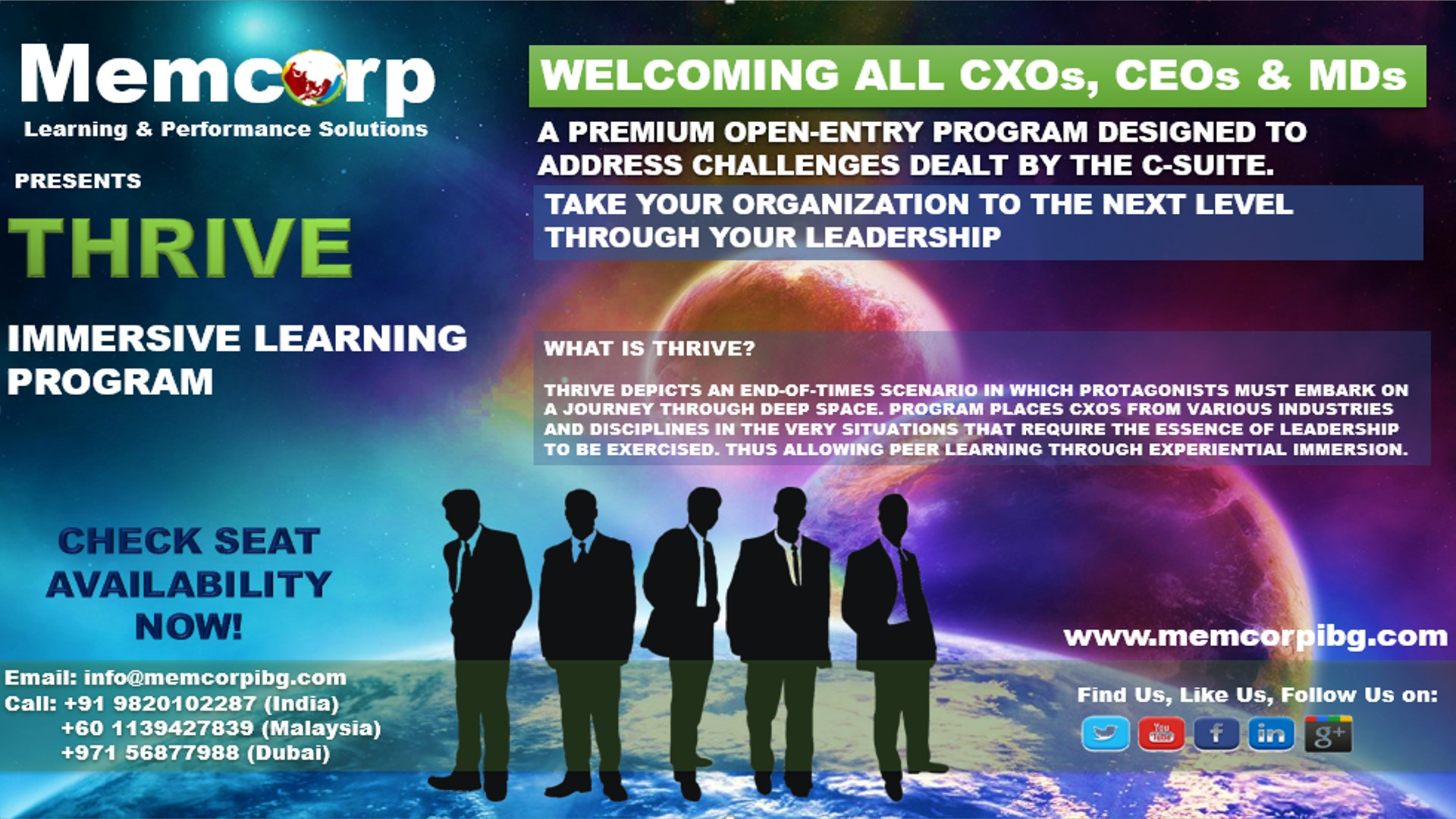 Thrive  Redefining Growth (Leadership simulation) Top management event in Mumbai on 28th Nov15