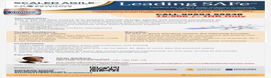 Leading SAFe - SA @ HYDERABAD - 16,500/- INR Copy