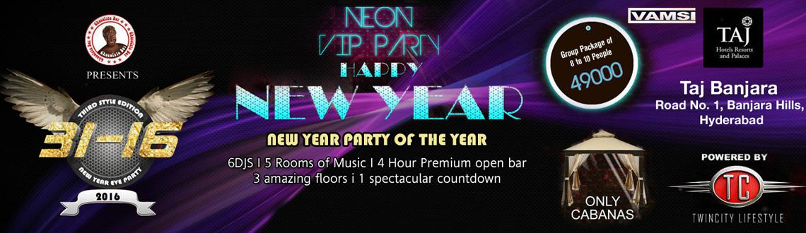 31-16 Neon VIP New Year Party at Taj Banjara
