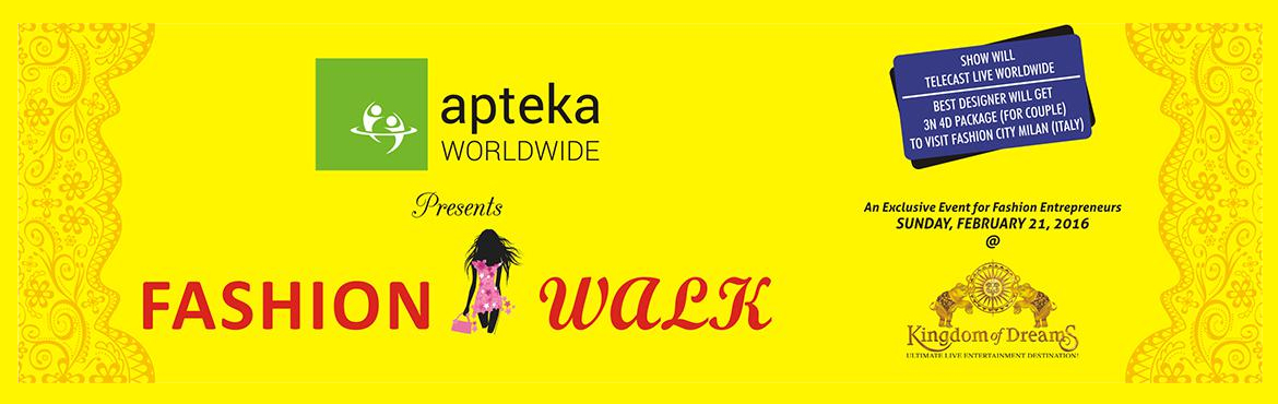 Book Online Tickets for Fashion Walk, Gurugram. FASHION WALK is organized by APTEKA WORLDWIDE, an entertainment, event management and marketing firm. APTEKA WORLDWIDE presents FASHION WALK to provide Indian designers an ever-evolving platform to seamlessly connect with buyers, press and consumers.