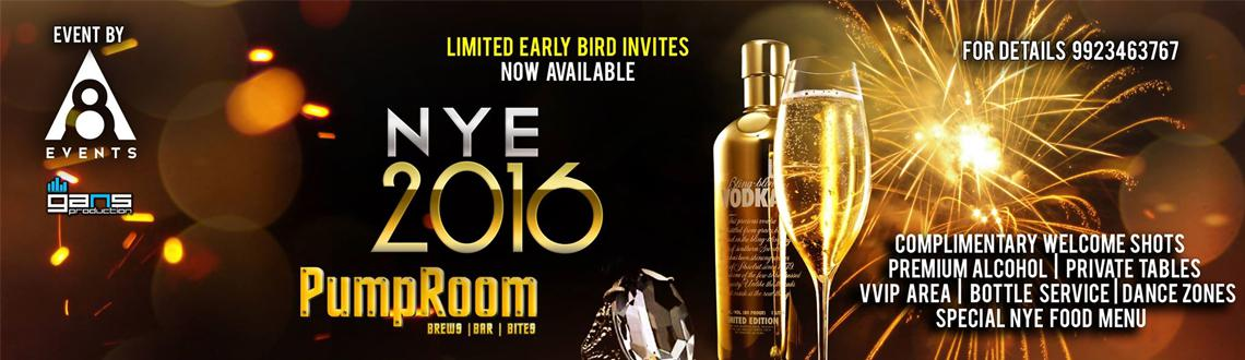 Book Online Tickets for New Years Eve Party @ PumpRoom, Pune. On the Spot Entry Available!!!