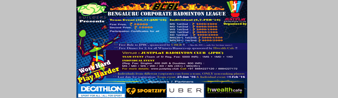 Book Online Tickets for Bengaluru Corporate Badminton Leauge, Bengaluru. Delighted to launch new and exciting BENGALURU CORPORATE BADMINTON LEAGUE, platform where companies can compete against each other.