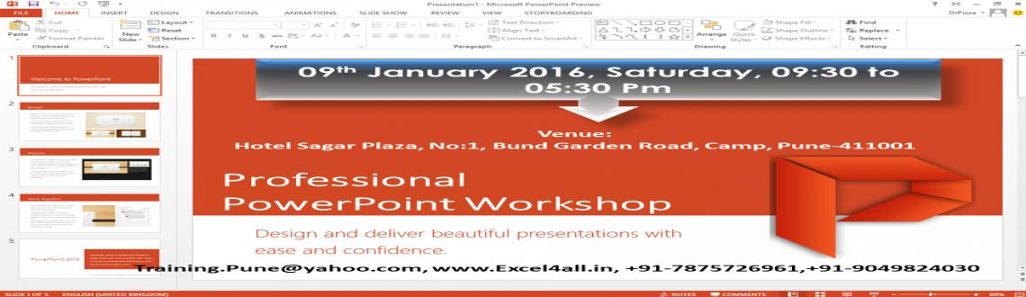 Book Online Tickets for Professional PowerPoint Workshop, Pune. Microsoft PowerPoint Workshop