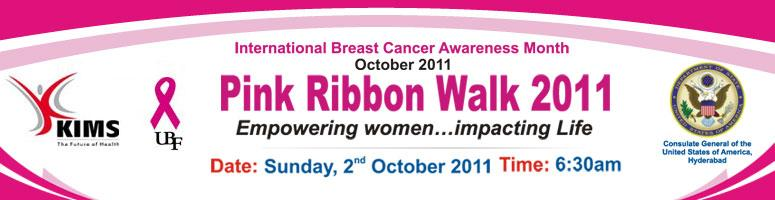 Book Online Tickets for The Pink Ribbon Walk 2011, Hyderabad. To empower women & men about the importance of beast cancer awareness and Emphasize the benifits of early detection of breast cancer.  Women & men indeed  breast cancer survivors & their families are encouraged to join in large numbers fo
