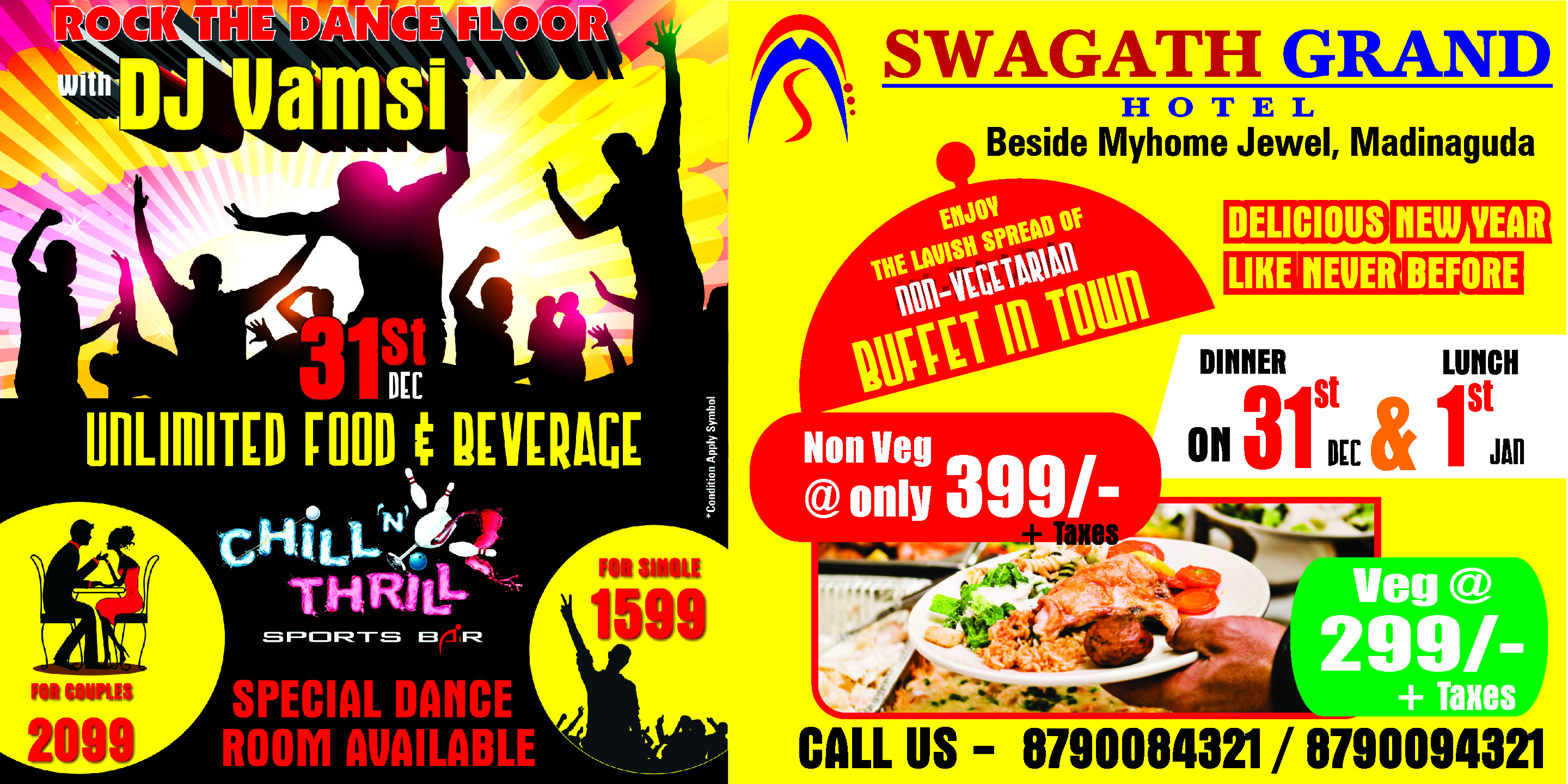 NEW YEAR CELEBRATION AT CHILL N THRILL BY SWAGATH GRAND MADINAGUDA
