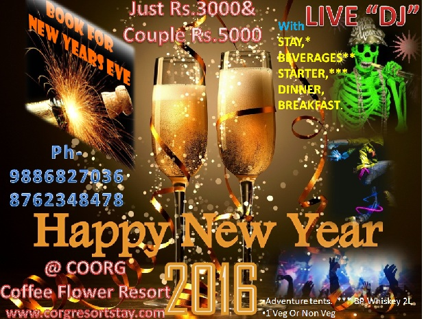 New year LiveDJ  Party with Stay 2016@ Coorg Coffee flower Resort.