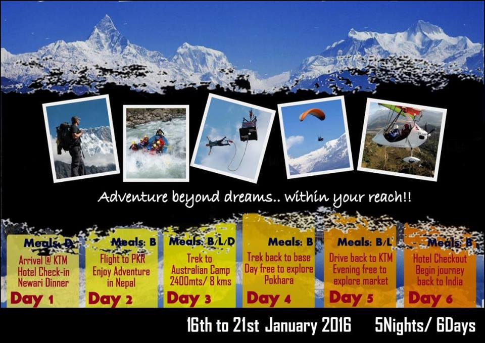 Book Online Tickets for Trek to Annapurna Conservation Area - ex, Kolkata. Let Us Go, Proudly Presents their first group trek tour as assosiate partner of Junoon Adventure for the first timeThis 5N/6D trip will be an amazing opportunity for thrill seekers to get a taste of world class adventure and complete a trek in the An