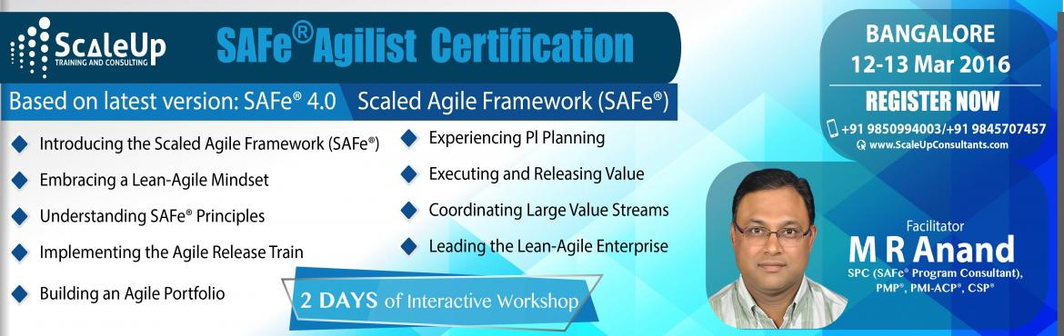 Become SAFe (Scaled Agile Framework) Agilist Certified. Attend 2-days interactive workshop on 20 - 21 Feb 2016 in Bangalore by VINEET PATNI