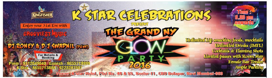 K Star Celebrations presents The Grand Newyear Glow Party