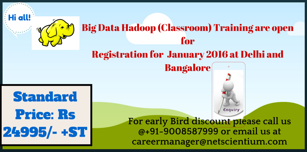Book Online Tickets for Big Data Hadoop Training at Delhi -NCR (, NewDelhi.                                   Big Data Hadoop Training  are open for registration 