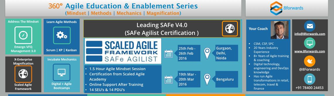Covers Principles  Practices of SAFe. Youll learn how to release value via Agile Release Trains, building an Agile Portfolio  Leading an Agile team