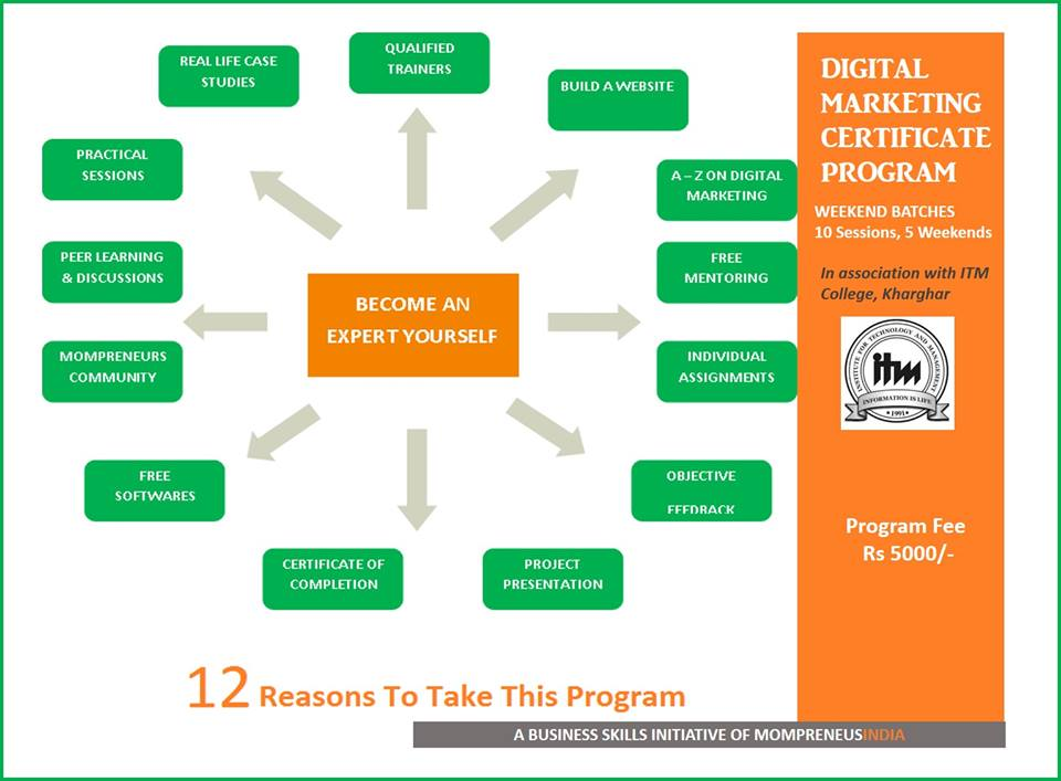 Book Online Tickets for Digital Marketing Certificate Program - , Mumbai. If you are running a business whether home – based or an SME, you need to be aware of the growing opportunities of promoting your business online. In the Internet of things, digital marketing and well planned strategies will give you the edge t